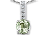 Green Amethyst And Cubic Zirconia Pendant Necklace style: 302258