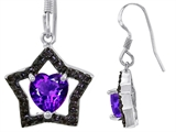 Star K™ 925 Heart Shaped Genuine Amethyst Black Star Hanging Hook Earrings style: 302280