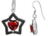 Star K™ 925 Heart Shaped Genuine Garnet Black Star Hanging Hook Earrings style: 302282