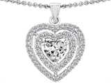 Star K™ Heart Shape Cubic Zirconia Double Halo Pendant Necklace style: 302302
