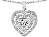 Star K™ Heart Shape Cubic Zirconia Double Halo Pendant Necklace style: 302302