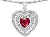 Star K™ 6mm Heart Shape Created Ruby Double Halo Pendant Necklace style: 302303