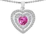 Star K™ 6mm Heart Shape Created Pink Sapphire Double Halo Pendant Necklace style: 302306