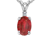 Tommaso Design™ Genuine Ruby Oval 8x6 and Diamond Pendant style: 302332