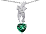 Star K™ 8mm Heart Shape Simulated Emerald Pendant Necklace style: 302349