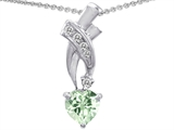 Star K™ 925 Genuine Heart Green Amethyst Pendant Necklace style: 302353