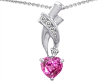 Star K™ 925 Created Heart Shaped Pink Sapphire Pendant Necklace style: 302356