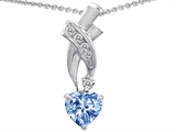 Star K™ 925 Simulated Heart Shaped Aquamarine Pendant Necklace style: 302357