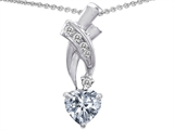 Star K™ 925 Genuine Heart White Topaz Pendant Necklace style: 302358