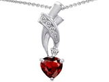Star K™ 925 Genuine Heart Garnet Pendant Necklace style: 302359