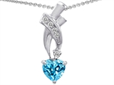 Star K™ 925 Genuine Heart Blue Topaz Pendant Necklace style: 302361
