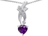 Star K™ 925 Genuine Heart Amethyst Pendant Necklace style: 302362