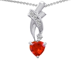 Star K™ 925 Simulated Heart Fire Opal Pendant Necklace style: 302364