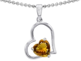 Star K™ 7mm Heart Shape Simulated Citrine Pendant Necklace style: 302387