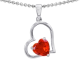Star K™ 7mm Heart Shape Simulated Fire Opal Pendant Necklace style: 302388