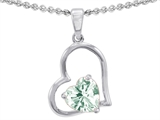 Star K™ 7mm Heart Shape Green Amethyst Pendant Necklace style: 302390