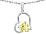 Star K™ 7mm Heart Shape Lemon Quartz Pendant Necklace style: 302392