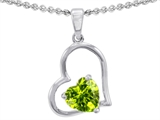 Star K™ 7mm Heart Shape Simulated Peridot Pendant Necklace style: 302396