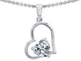 Star K™ Created 8mm Heart Shape Genuine White Topaz Pendant Necklace style: 302399