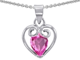 Star K™ Pear Shape Created Pink Sapphire Heart Pendant Necklace style: 302413