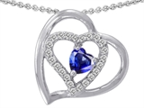 Star K™ 6mm Heart Shape Created Sapphire Pendant Necklace style: 302431