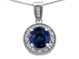 Tommaso Design™ Genuine Diamonds and Round Genuine Sapphire Pendant Necklace style: 302607