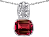 Star K™ Large 11x13 Cushion Cut Created Ruby Bali Style Pendant Necklace style: 302633