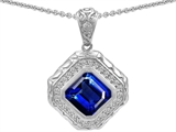 Star K™ 7mm Cushion Cut Created Sapphire Bali Style Pendant Necklace style: 302637