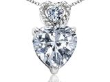 Tommaso Design™ 6mm Heart Shape Genuine White Topaz Pendant Necklace style: 302691