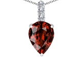 Tommaso Design™ Genuine Pear Shape Garnet and Diamond Pendant Necklace style: 302717