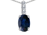 Tommaso Design™ Genuine Oval Sapphire and Diamond Pendant Necklace style: 302728