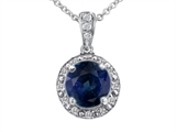 Tommaso Design™ Genuine Diamonds and Round Genuine Sapphire Pendant Necklace style: 302736