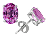 Tommaso Design™ Created Pink Sapphire Oval Earrings Studs style: 302744