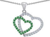 Star K™ Simulated Emerald Double Heart Pendant Necklace style: 302808