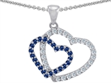 Star K™ Created Sapphire Double Heart Pendant Necklace style: 302809