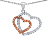 Star K™ Heart Shaped Simulated Orange Sapphire And Cubic Zirconia Pendant Necklace style: 302811