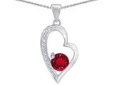 Star K™ Round Created Ruby Heart Pendant Necklace style: 302821