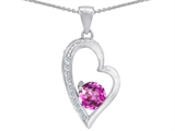 Star K™ Round Created Pink Sapphire Heart Pendant Necklace style: 302823