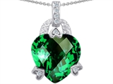 Star K™ Large 13mm Heart Shaped Simulated Emerald Designer Pendant Necklace style: 302835