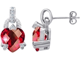 Star K™ Heart Shaped Large Created Ruby Hanging Designer Earrings style: 302842