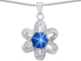 Star K™ Round Created Star Sapphire Flower Pendant Necklace style: 302886
