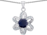 Star K™ Round Genuine Black Sapphire Flower Pendant Necklace style: 302888