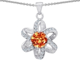 Star K™ Round Simulated Orange Sapphire Flower Pendant Necklace style: 302890