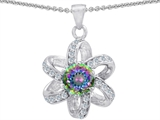 Star K™ Round Genuine Mystic Topaz Flower Pendant Necklace style: 302891