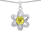 Star K™ Round Genuine Lemon Quartz Flower Pendant Necklace style: 302894