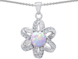 Original Star K™ Round Created Opal Flower Pendant style: 302896