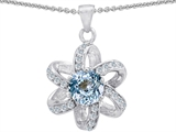 Original Star K™ Round Simulated Aquamarine Flower Pendant style: 302899