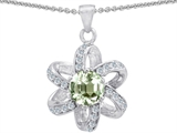 Star K™ Round Green Amethyst Flower Pendant Necklace style: 302900