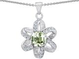 Original Star K™ Round Green Amethyst Flower Pendant style: 302900