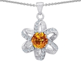 Star K™ Round Genuine Citrine Flower Pendant Necklace style: 302902